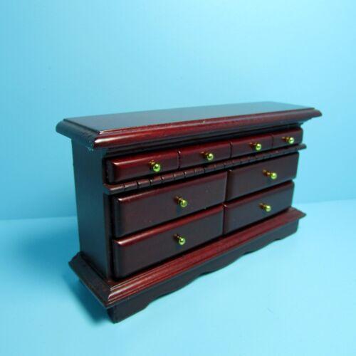 Dollhouse Miniature Wood Dresser In Mahogany~ Lots of Drawers ~ T3821