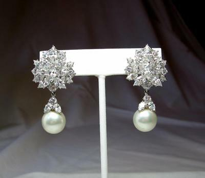 Costume Jackie Collins Estate Earrings Sterling Faux Pearl Diamond Paste Celebrity