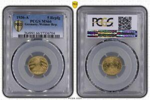 Weimar 5 Pfennig 1936 A Brilliant Uncirculated PCGS MS66 (37485)