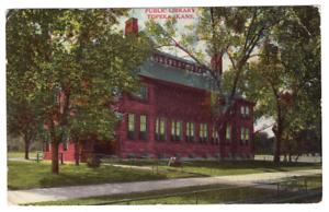 Vintage-Postcard-Public-Library-Topeka-Kansas-Postmark-1909-J20