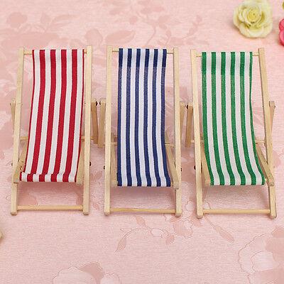 New Dolls House 1:12 Miniature Foldable Wooden Deckchair Lounge Beach Chair Toy