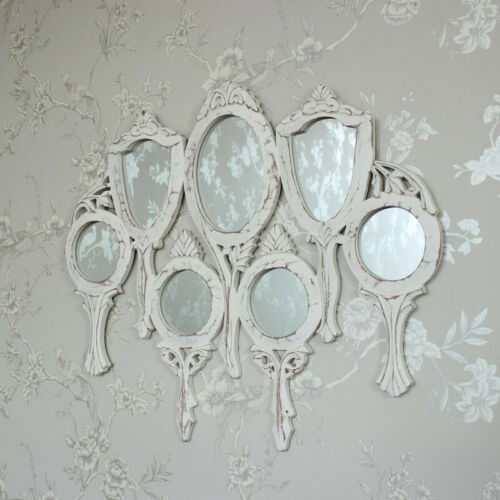 White wooden vanity multi mirror shabby vintage chic pretty ornate bedroom hall