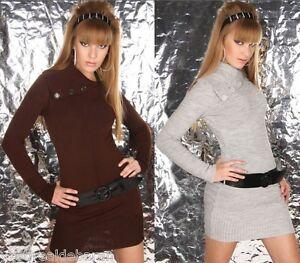 Miniabito-Long-Pullover-Donna-con-Cintura-BOOGY-LONDON-A711-Tg-S-M-M-L-XL