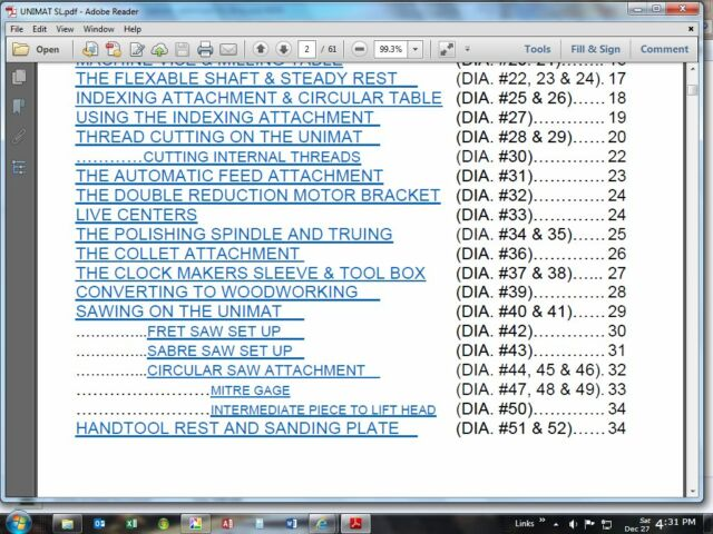 Unimat SL Lathe Manual in Adobe PDF Format with Linked Table of Contents
