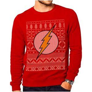 Official The Flash Logo Fair Isle Red Christmas Jumper Sweatshirt