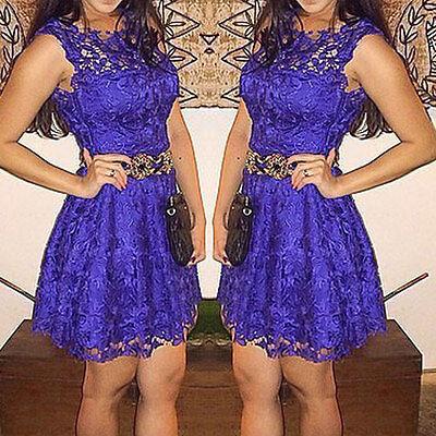 Retro Women Purple Lace Summer Cocktail Evening Party Short Mini Dress Size6-14