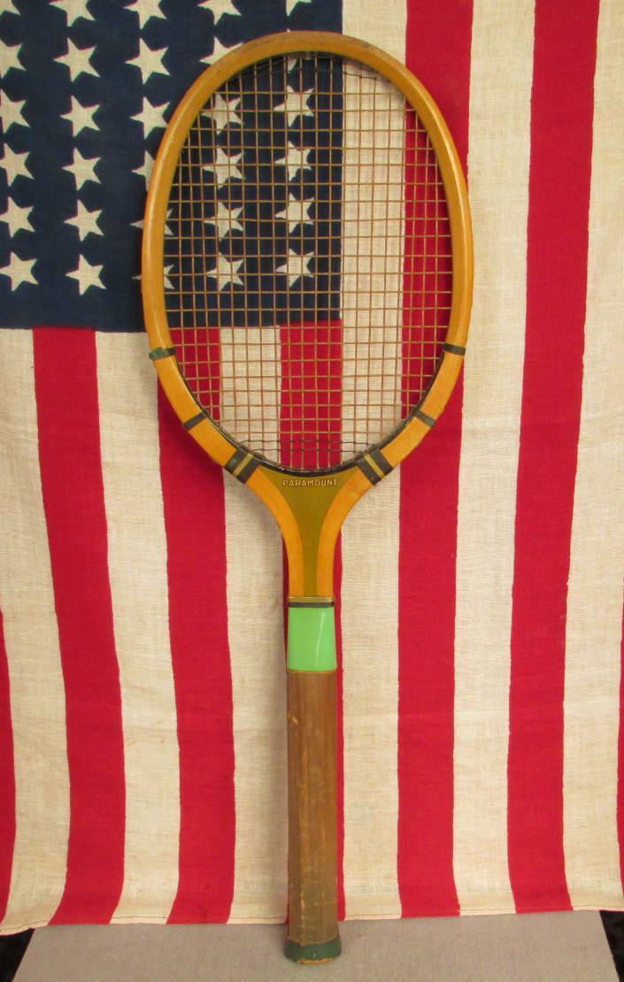 Vintage 1940s Paramount Wood Tennis Racquet Great Looking Display Racquet