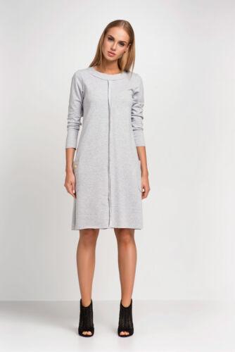 Ladies Shift Dress With Pockets Long Sleeve Crew Neck Tunic Sizes 8-18 FA433