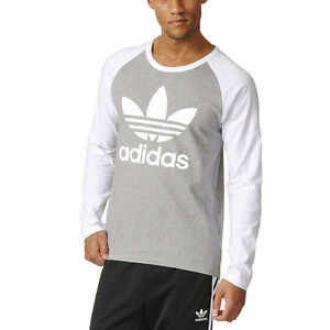 Adidas-Men-039-s-Trefoil-Raglan-Long-Sleeve-Tee-Shirt-Grey-White-AY7803-NEW
