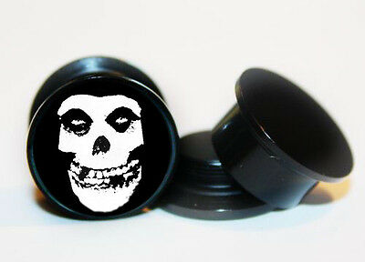 Pair of Misfits ear plug gauges tunnel screw on back 6mm-24mm