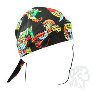 81905397737 Love Hate Tattoo Look Heart Skull Ribbon Doo Rag head wrap Cap Biker ...