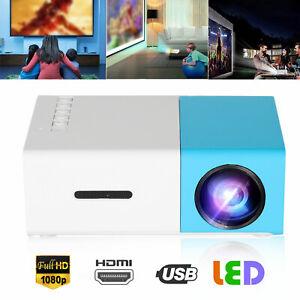 HD 1080p Mini Portable LED Projector Home Theater Cinema Movies USB/HDMI/VGA/SD