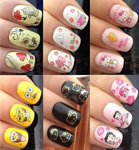 NAIL ART STICKERS WATER TRANSFERS DECALS HELLO KITTY BETTY BOO - Spongebob nail decals
