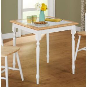 Details about Country Style Dining Table Farmhouse White Dinette Solid Wood  Breakfast Nook