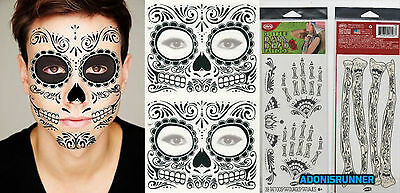 2 Day of the Dead Zombie In The Dark Skeleton Face Hand & Arm Tattoo Kits SAle