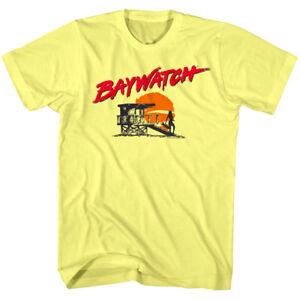 8c42b9efd9e1 OFFICIAL Baywatch Men s T-shirt Lifeguard Tower Silhouette Sunset ...