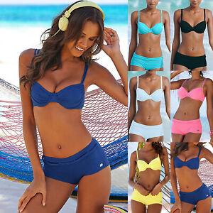 215713e73730c Womens Push-Up Bikini Set Padded Boy Shorts Swimsuit Swimwear Beach ...