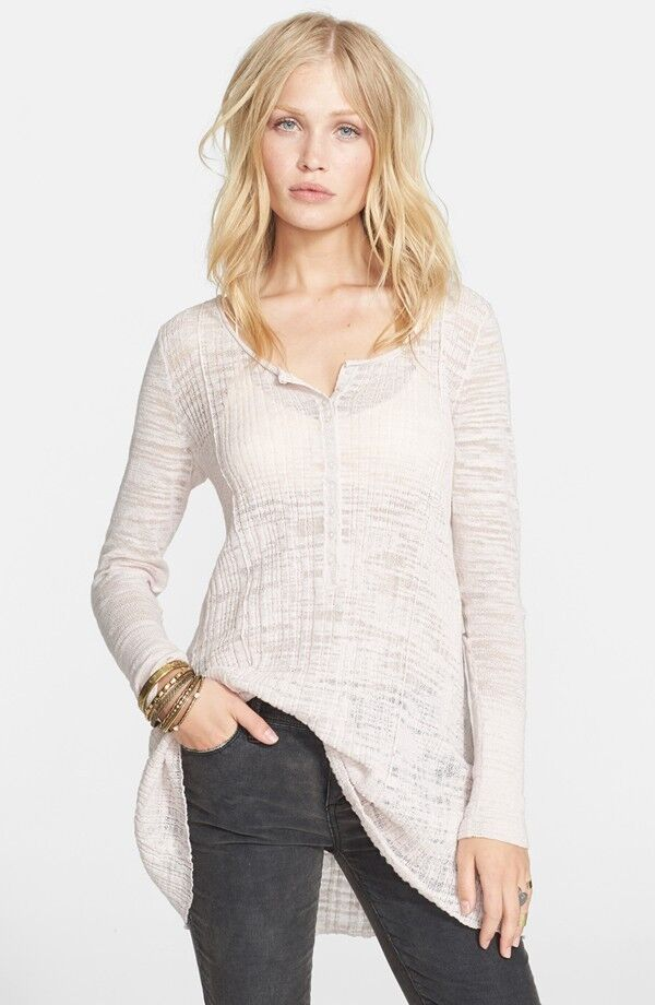 NWT Free People Sheer Ribbed Henley Top
