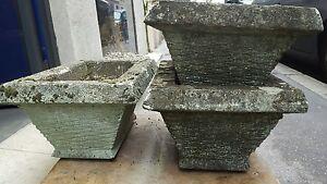 Bac A Fleur Ciment 6 anciennes jardinieres ciment pierre reconstituée jardin annees 60