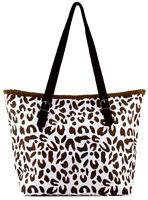 Leopard Print Paper Straw Shopper Beach Gym Tote Bag Large Handbag Purse