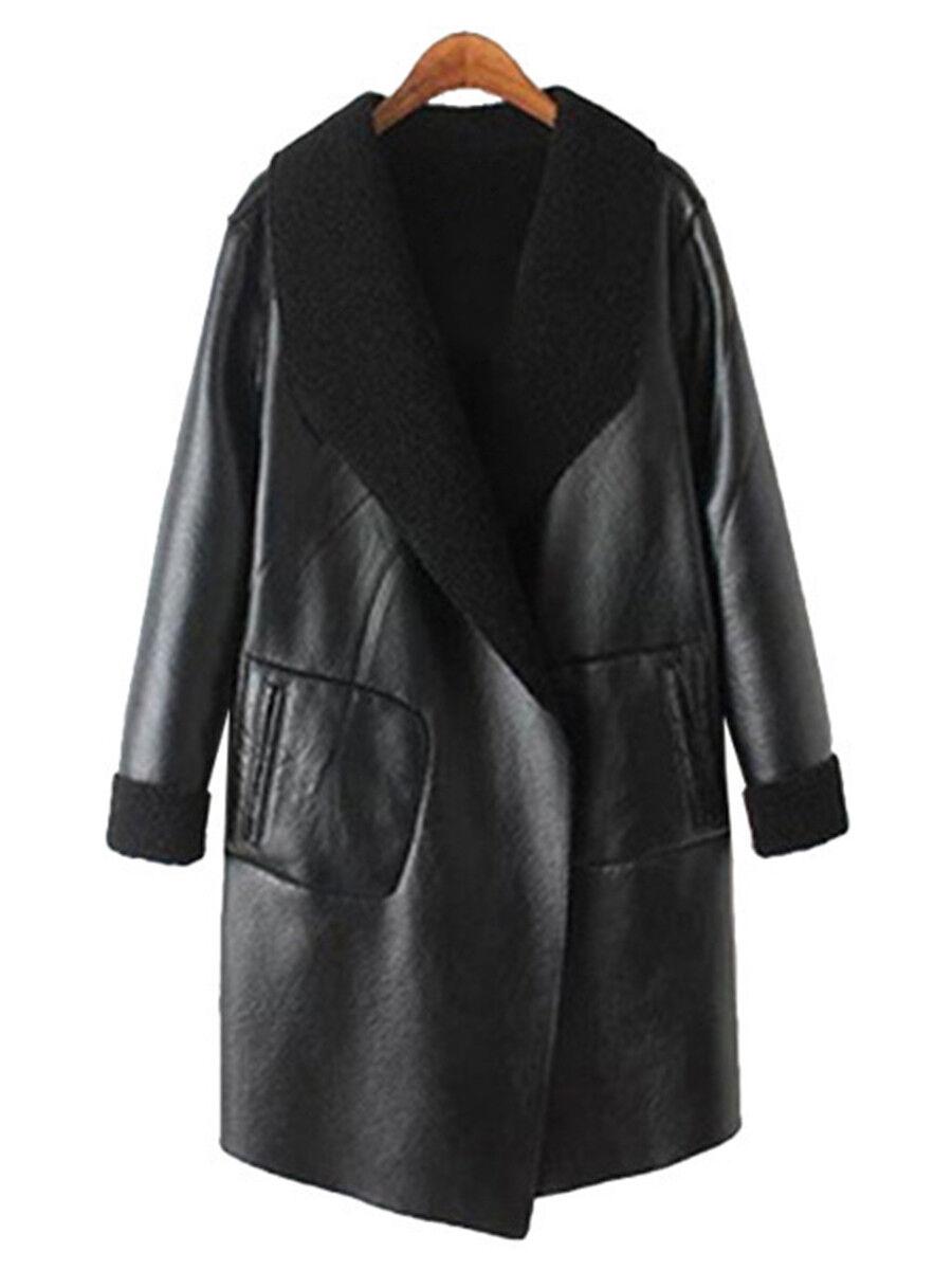 Elegant Women's Lapel PU Leather Coat Casual Long Sleeve Outwear Winter Overcoat