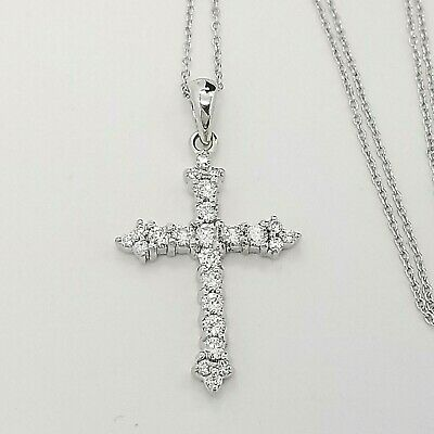 Sterling Silver 925 Dancing Round CZ Swirl Loop Religious Cross Pendant Necklace
