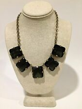 J.Crew Smoky Quartz Color Faceted Crystal Antique Gold Necklace by Lele Sadoughi