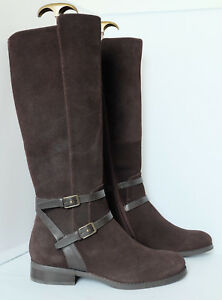 M-amp-S-Long-Boots-in-Chocolate-Suede-Stretch-Zip-Flexible-Leg-Fit-Insolia-Flex