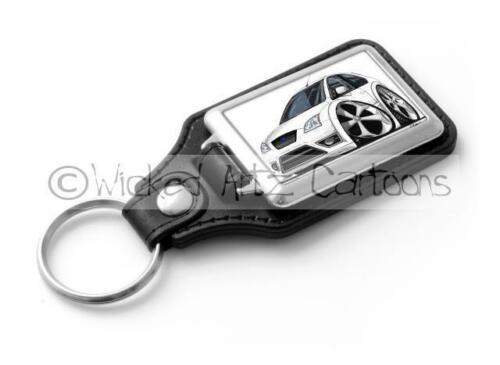 RetroArtz Cartoon Car Ford Focus ST in White Classic Key Ring