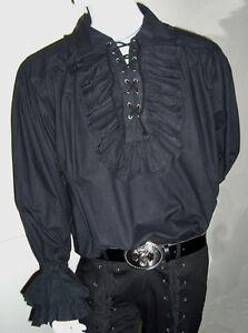 NEW-Men-039-s-Pirate-Black-Ruffled-Frill-Cotton-Shirt-M