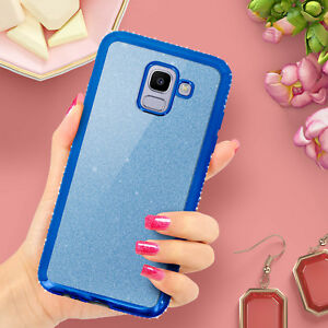Glitter-Glam-Custodia-Copertura-di-protezione-per-Samsung-Galaxy-J6-Blu