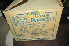 Vintage Anchor Hocking Grape 26pc Clear Glass Punch Bowl Set With Box