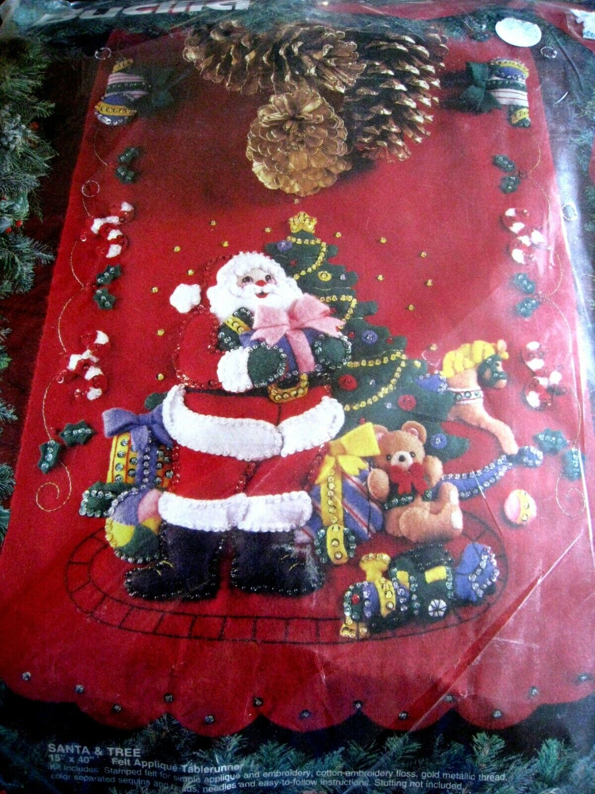 Bucilla Santa and Tree Felt Applique Tablerunner 83123