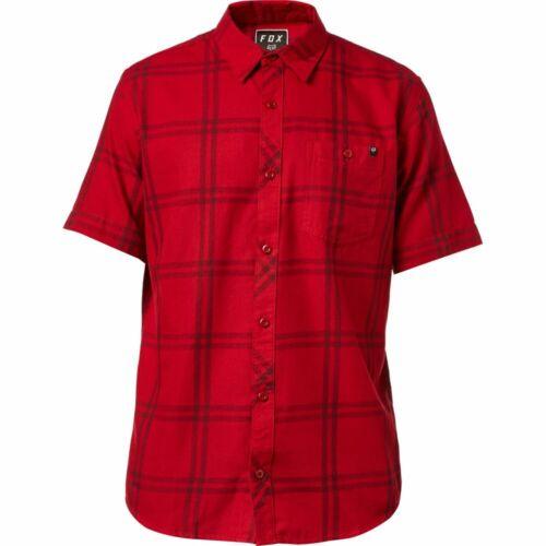 Fox Racing Brake Check Mens Short Sleeve Button Up Shirt Cardinal