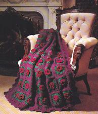 Crochet Pattern ~ RUFFLED ROSETTES GRANNY AFGHAN ~ Instructions