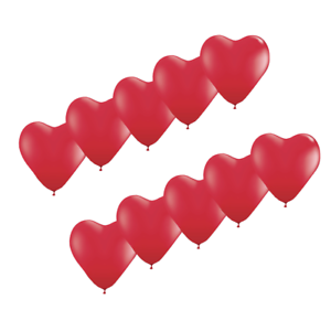 ★ 10x Luftballon Helium Gas Ballon Rot Herz Herzförmig Hochzeit Antrag Liebe ★