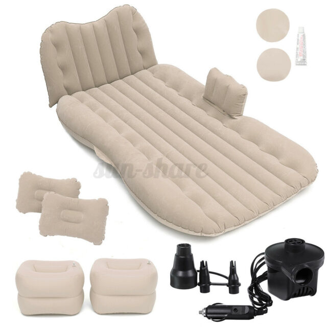 Inflatable Travel PVC Car Air Bed Camping Mattress Back Seat Sleep Pillow//Pump