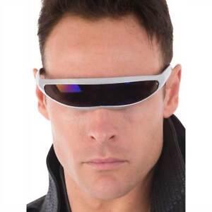 c3baa7b51 Details about Science Fiction Silver Costume Sunglasses Space Mutant Adult  Matrix XMen Cyclops