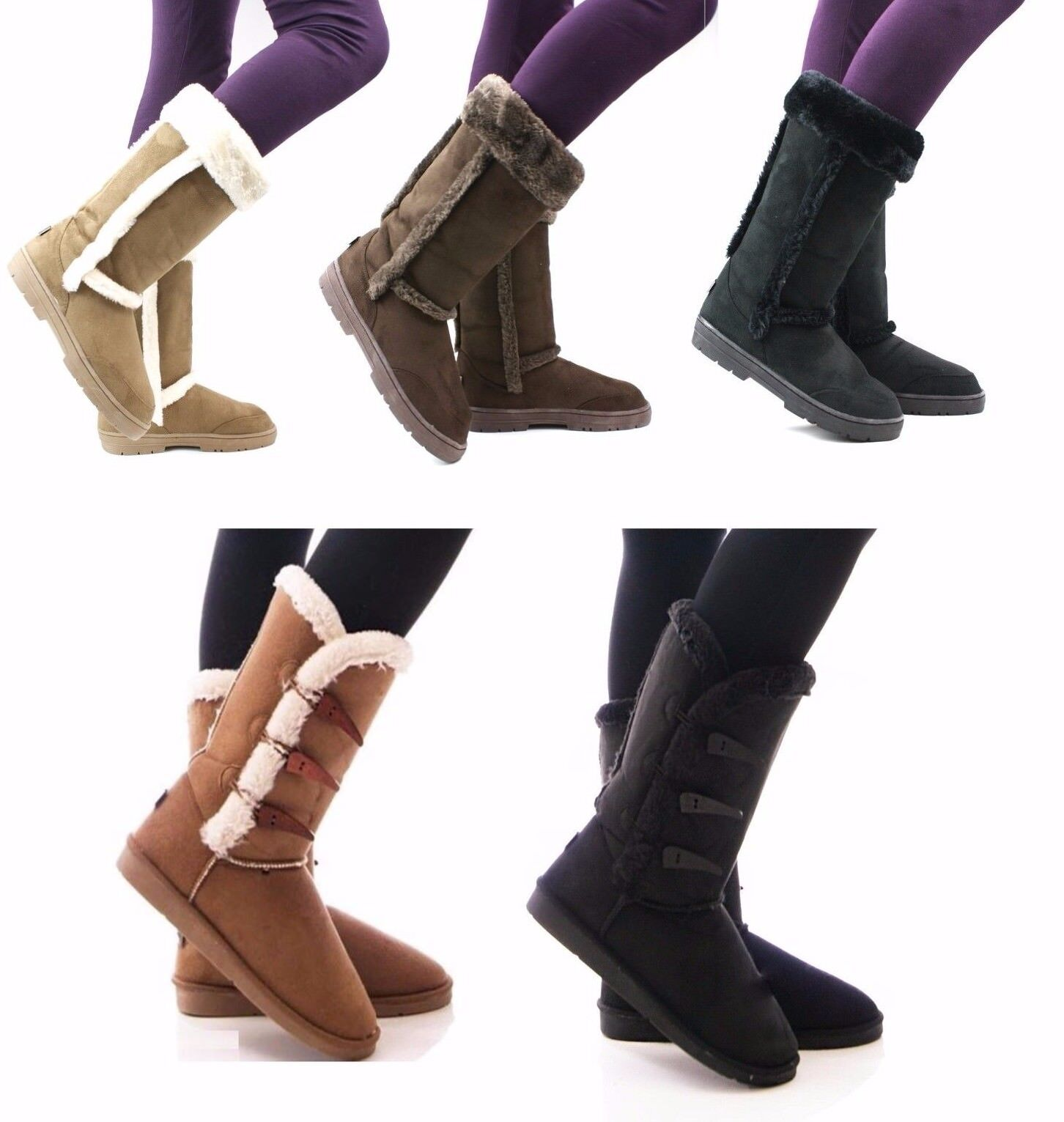 WOMENS LADIES FASHION WINTER SNOW COMFY CASUAL MID CALF FLEECE LINED BOOTS SIZE