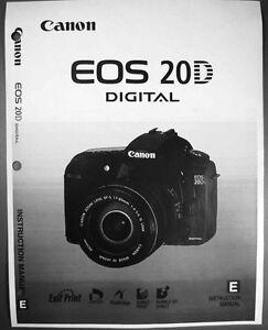canon eos 20d digital camera user instruction guide manual ebay rh ebay com Canon EOS 50D Canon EOS 20D