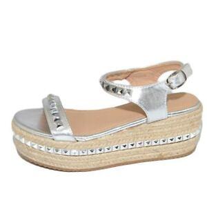 Zeppa sandalo moda donna in pelle argento con fascetta cinturino alla caviglia c