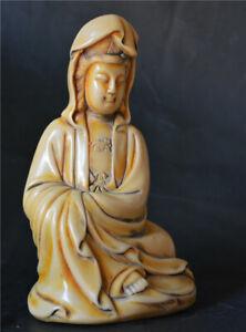 Tibetan Old Antique Yak Bone Carved Quan Kwan Yin Statue Kt Guanyin Buddha Tibet Ebay