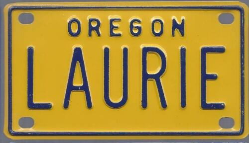 LAURIE Yellow Oregon Bicycle Plate! Mini License Plate Name Tag