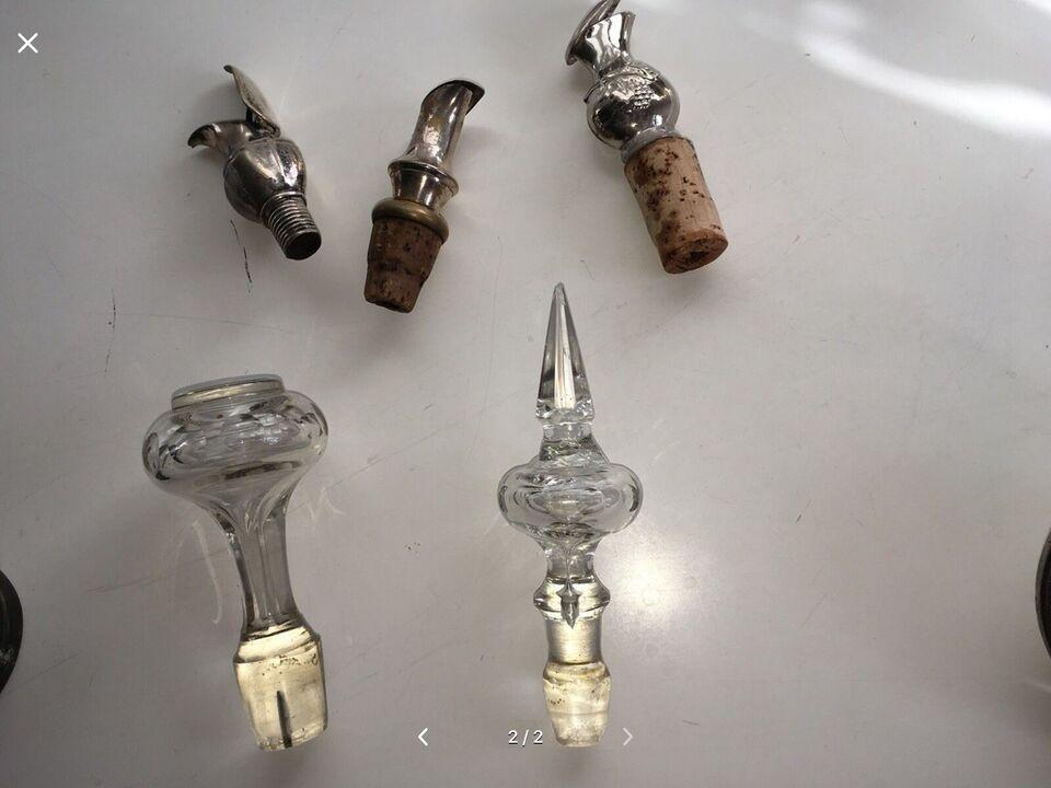 Glas, Vinpropper, krystal og sølv/plet 5 stk