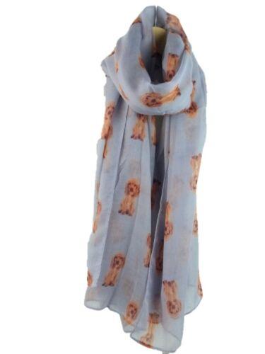New  Spaniel Dog Breed Print Scarf Fashion Stole Large Soft Neck Wrap 4 Colours