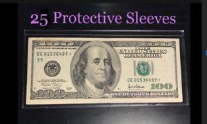 25-SEMI-RIGID-Vinyl-Money-Protector-Sleeves-US-Dollar-Bill-CURRENCY-HOLDERS-BCW