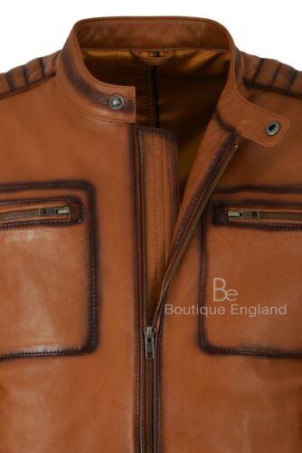 Men's 4108 Tan Lambskin Casual Leather 100 Jacket Motorcycle Style Real Fashion APxtAwvr