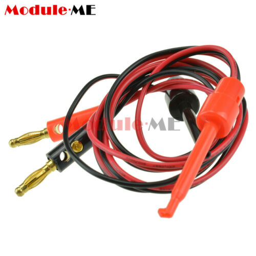 1 Pair Small Test Hook Clip to Banana Plug for Multimeter Test Lead Cable