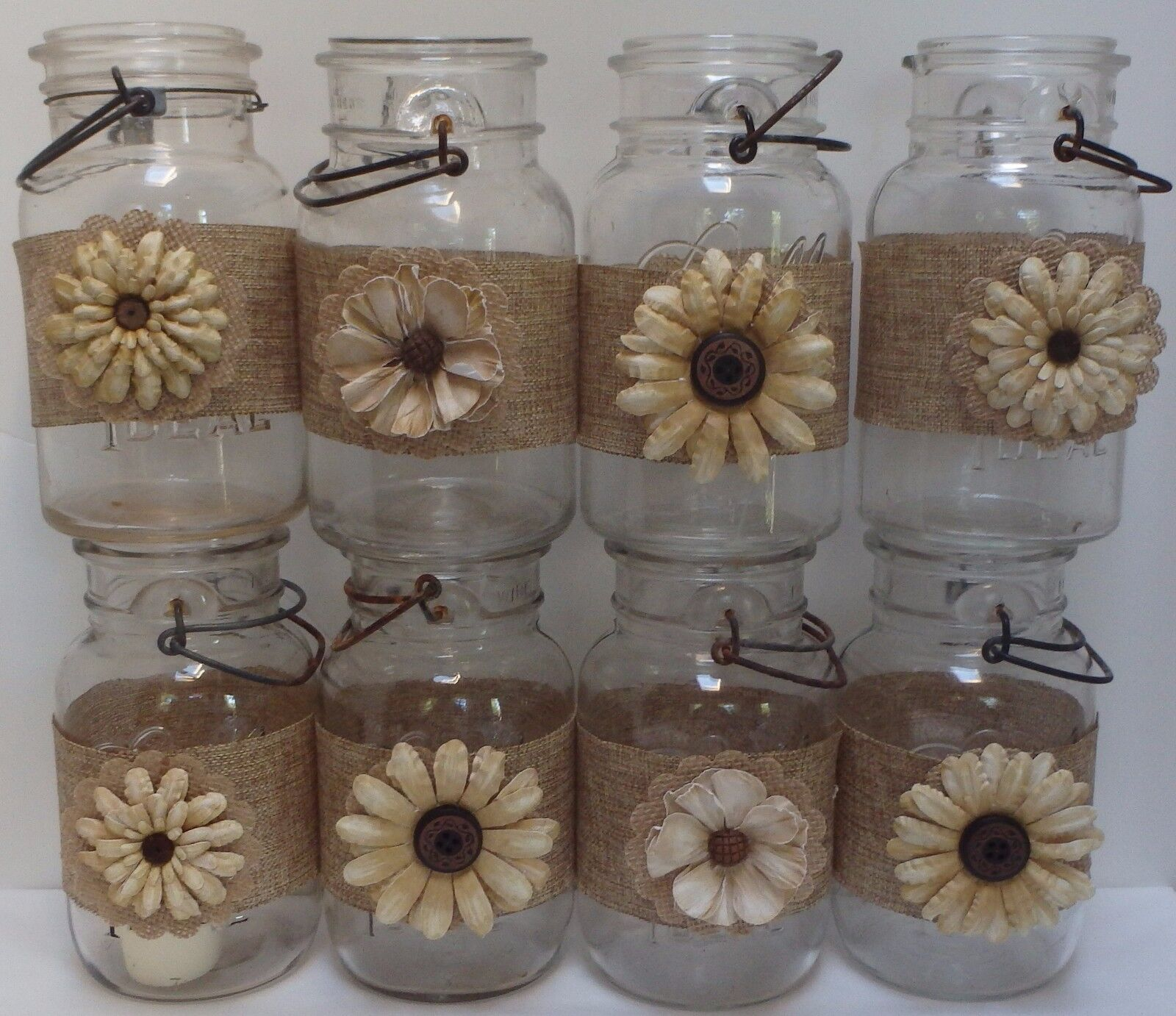 10 Burlap Gold Mason Jar Country Rustic Wedding 50th Anniversary Wraps S7