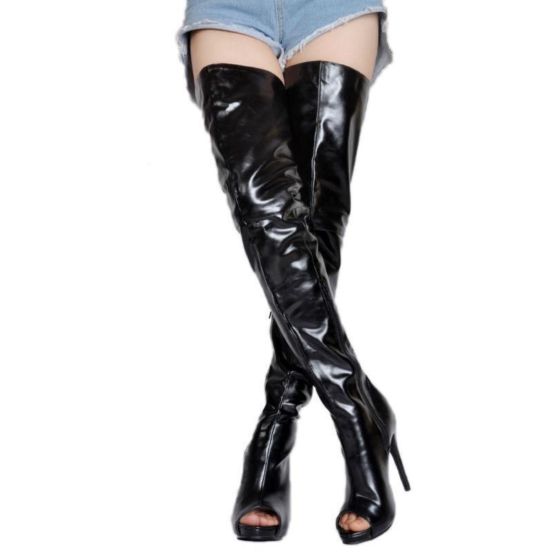 Señoras Negras Negras Negras Peep Toes cremallera taco alto encima de la rodilla botas Zapatos De Salón Talla Grande  el mejor servicio post-venta